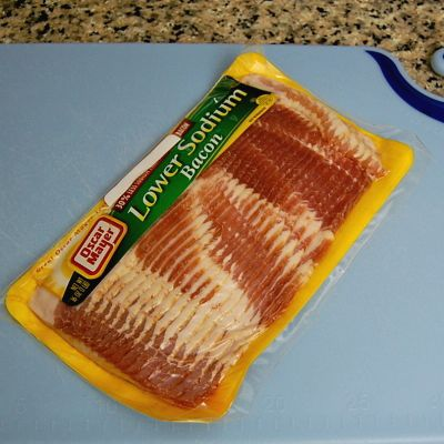 Place the package of bacon on your cutting board