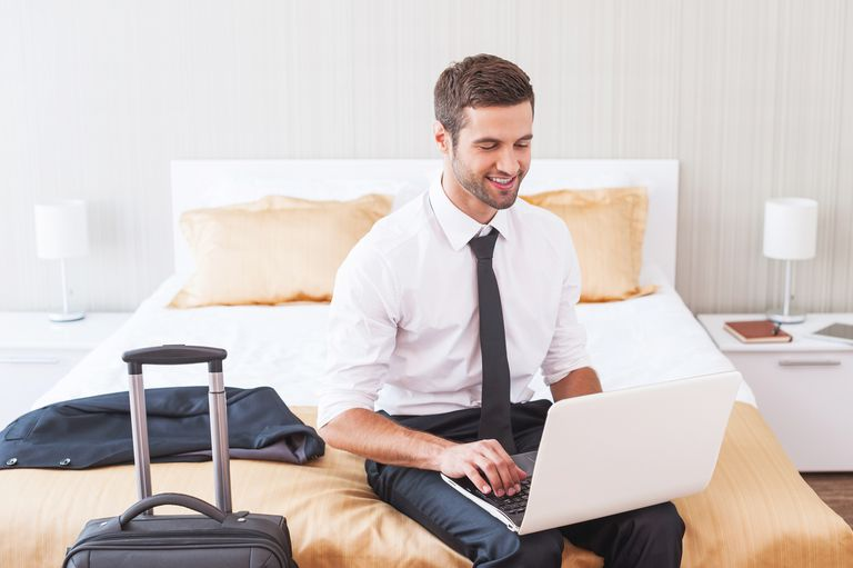 Use precautions when setting up an Internet connection in a hotel.