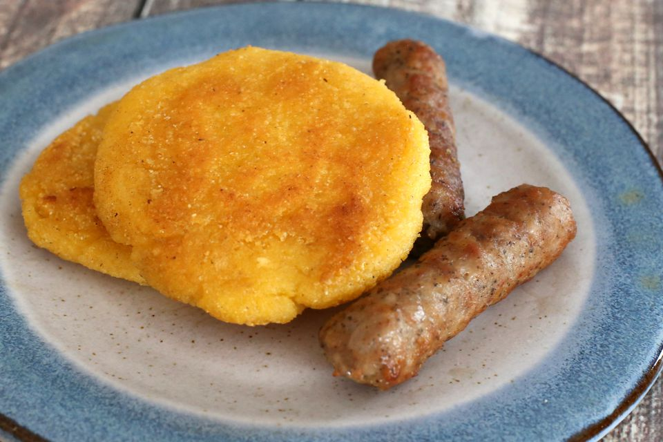 Fried Corn Cakes With Sausages