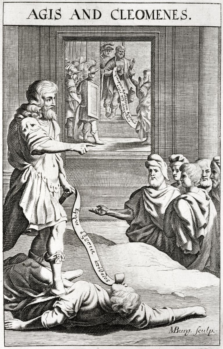 Kings Agis and Cleomenes of Sparta. Engraving by M Burg. Late 17th century