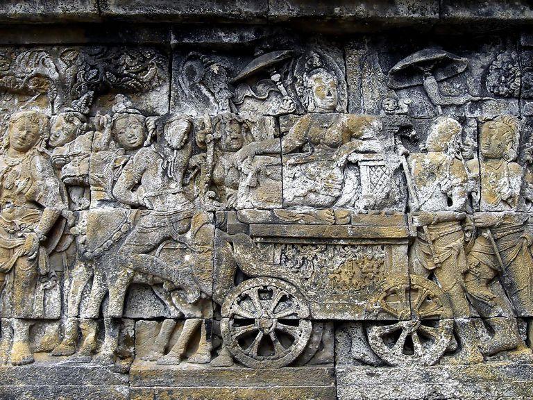 Queen Maya retreat to Lumbini to gave birth to Prince Siddharta Gautama (Buddha), the panel of Lalitavistara, Borobudur, Central Java, Indonesia.