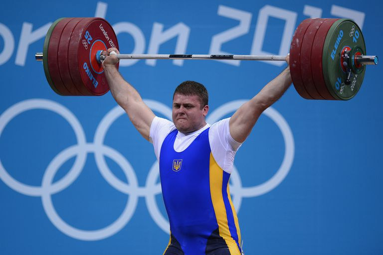 A weightlifter during the 2012 London Olympics.