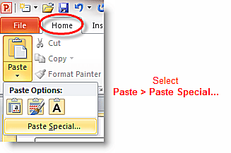 """Using """"Paste Special"""" Command in PowerPoint"""