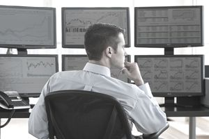 Male trader at work