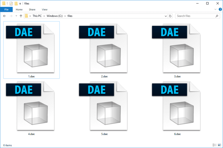 Screenshot of several DAE files that open with Photoshop in Windows 10