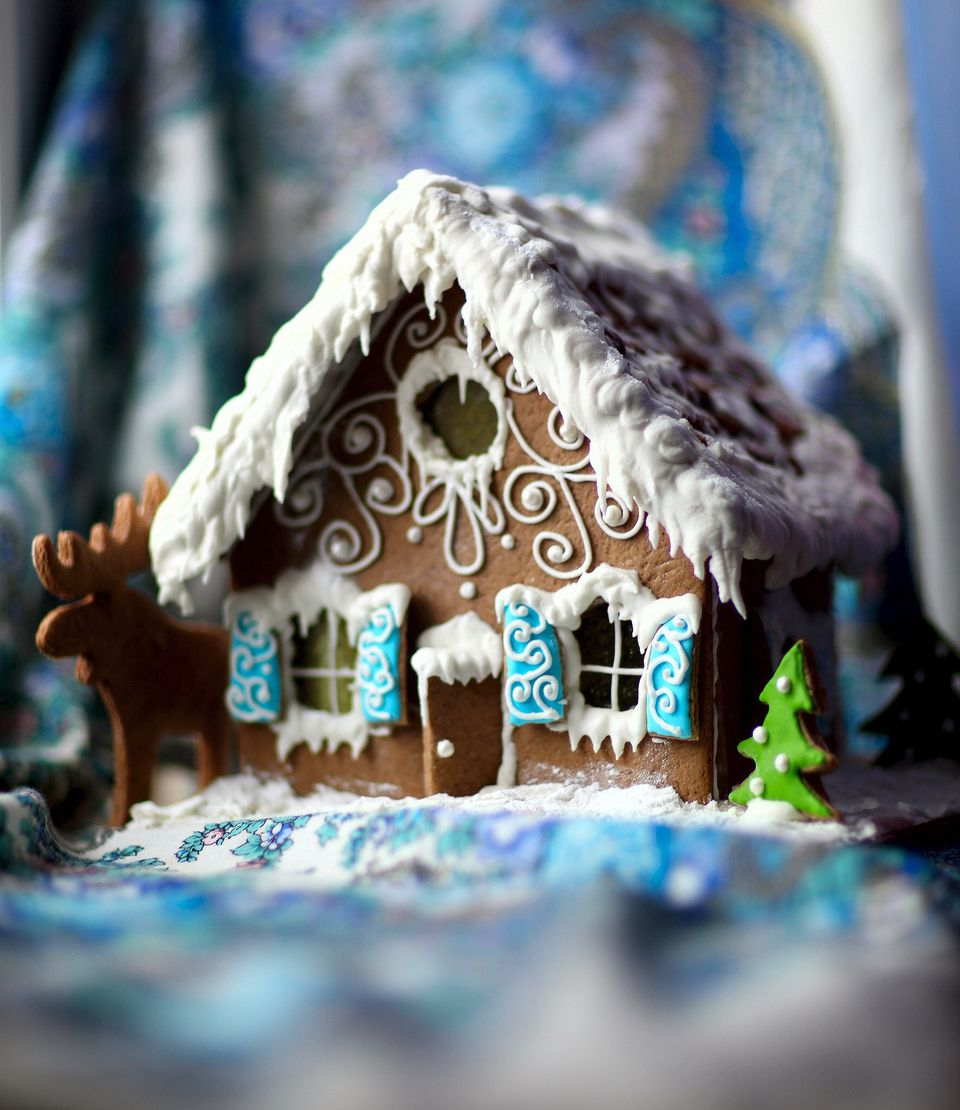 Close-Up Of Gingerbread House At Home