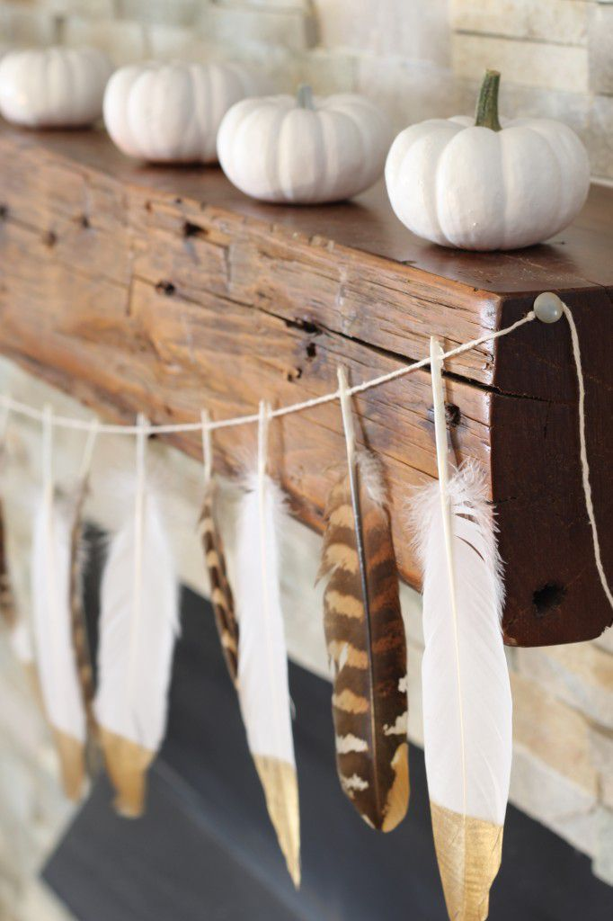 diy gold dipped feather garland