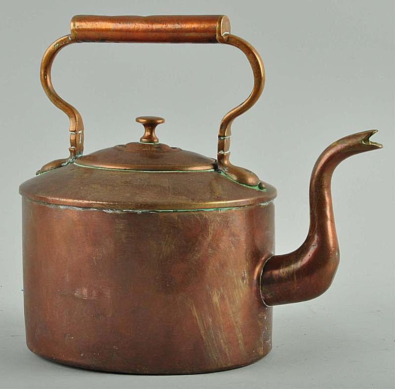 Copper Tea Kettle Showing Verdigris in Crevices