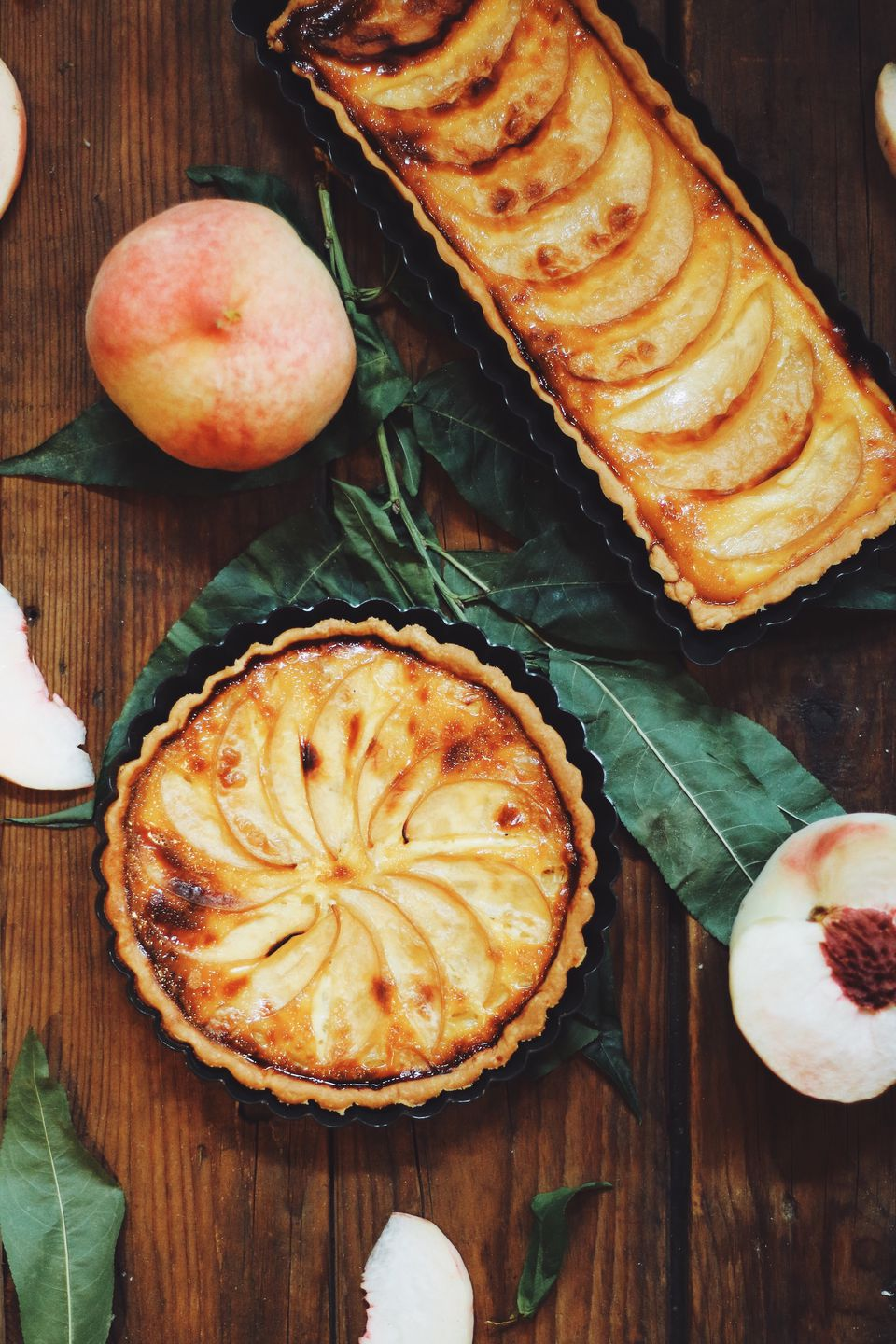 Directly Above Shot Of Peach Pies On Table