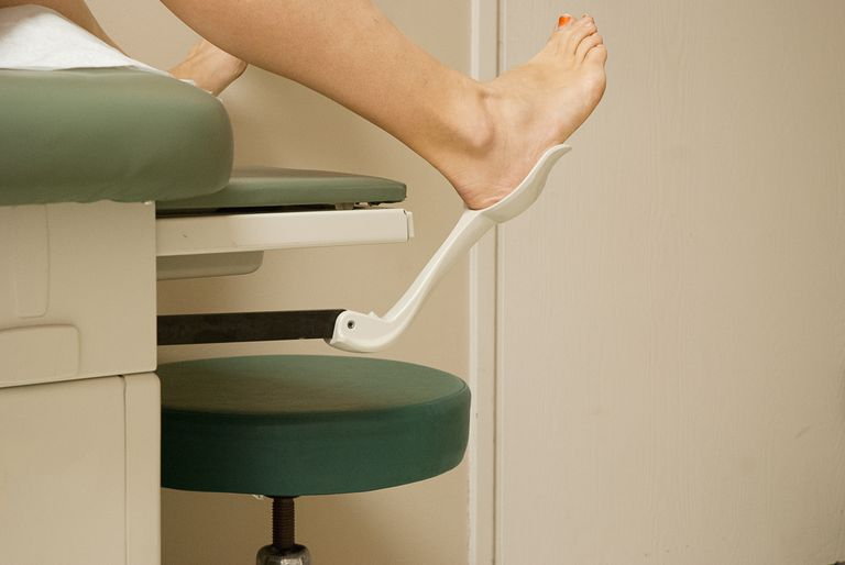 Woman with her feet in stir-ups at gynecologist office