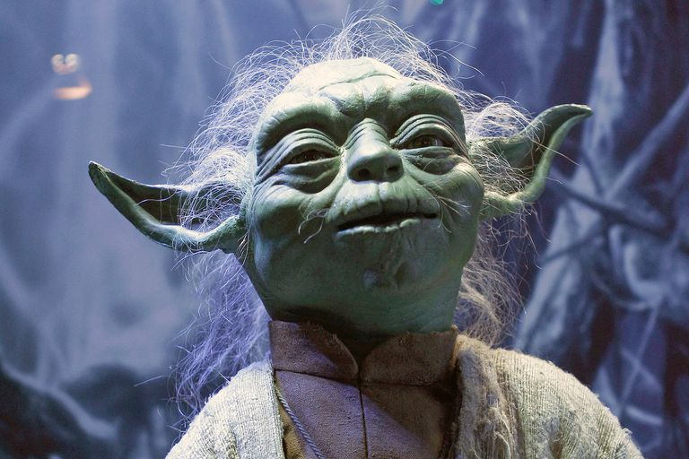 The costume of character Yoda from the Star Wars film series