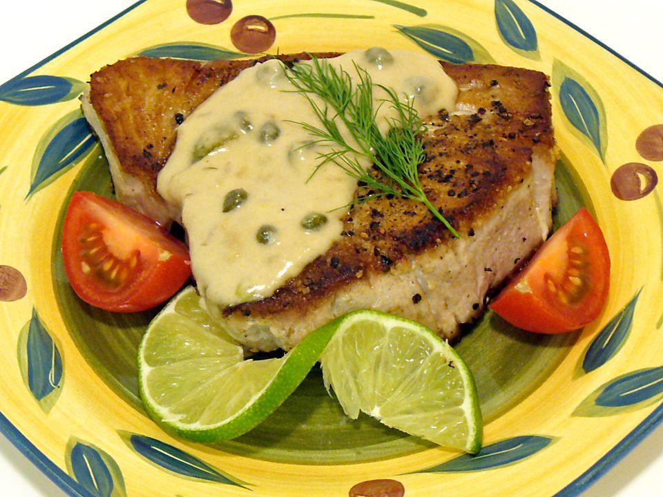 yellowfin tuna lemon cream sauce recipe fish seafood receipt