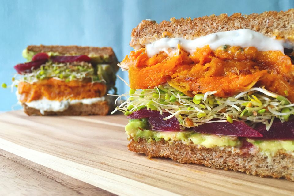 Veggie Sandwich with Butternut Squash + Beets