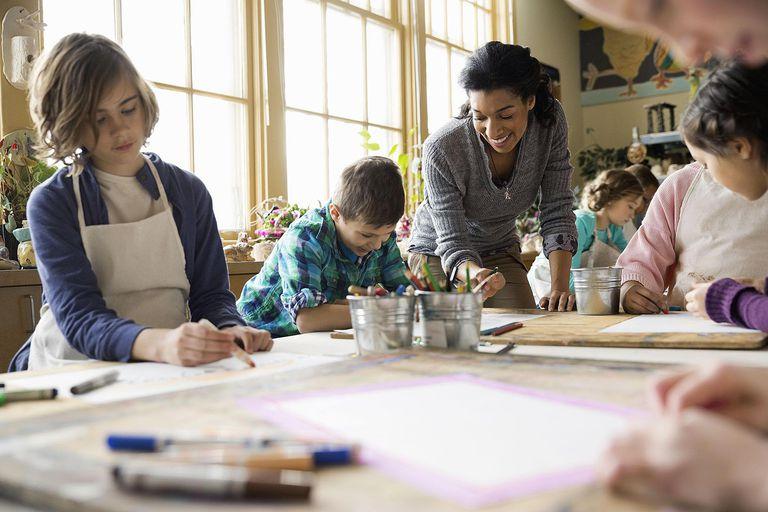 Teacher assisting students in art class