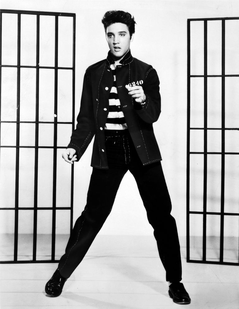A photograph promoting the film Jailhouse Rock depicts singer Elvis Presley.