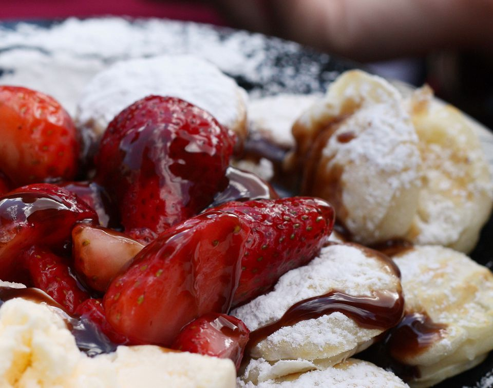 Pancake Puffs (Poffertjes) with Strawberries & Cream