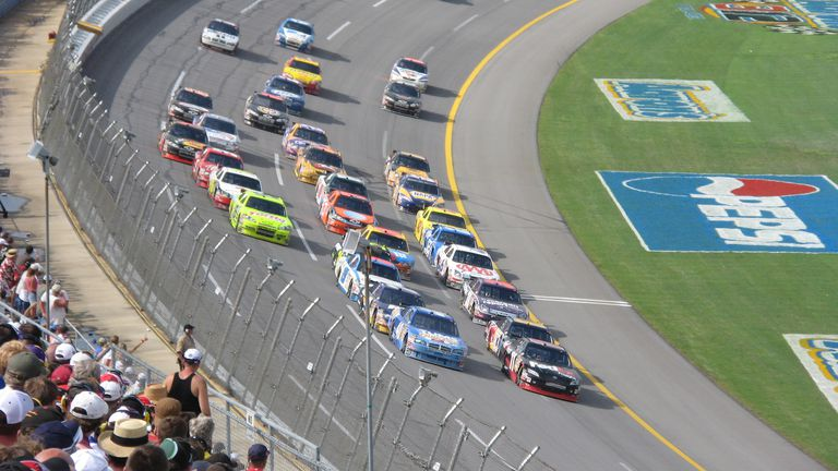 Denny Hamlin leading the 2008 Aaron's 499 alongside David Stremme.