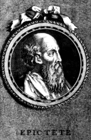 Epictetus. Engraving of Epictetus as conceived by S. Beyssent 18th C.