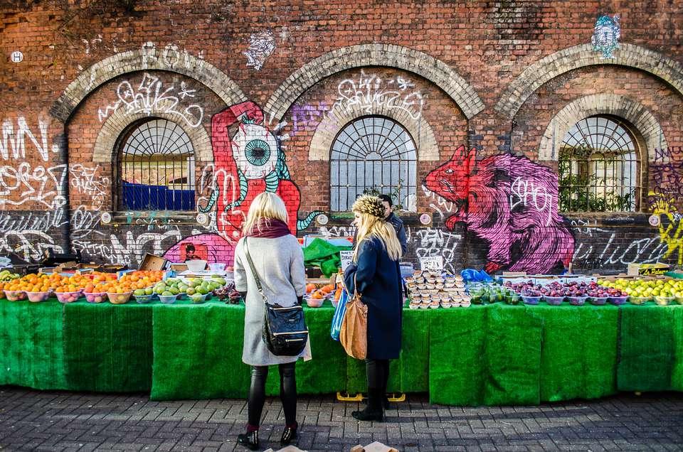 Fruit stand at Brick Lane Market in London
