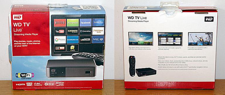 WD TV Live Streaming Media Player - Photo of Box - Front and Rear View