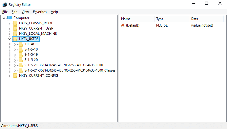 Screenshot of the HKEY_USERS hive in the Windows Registry in Windows 10