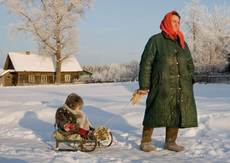 Russian grandmother with grandchild