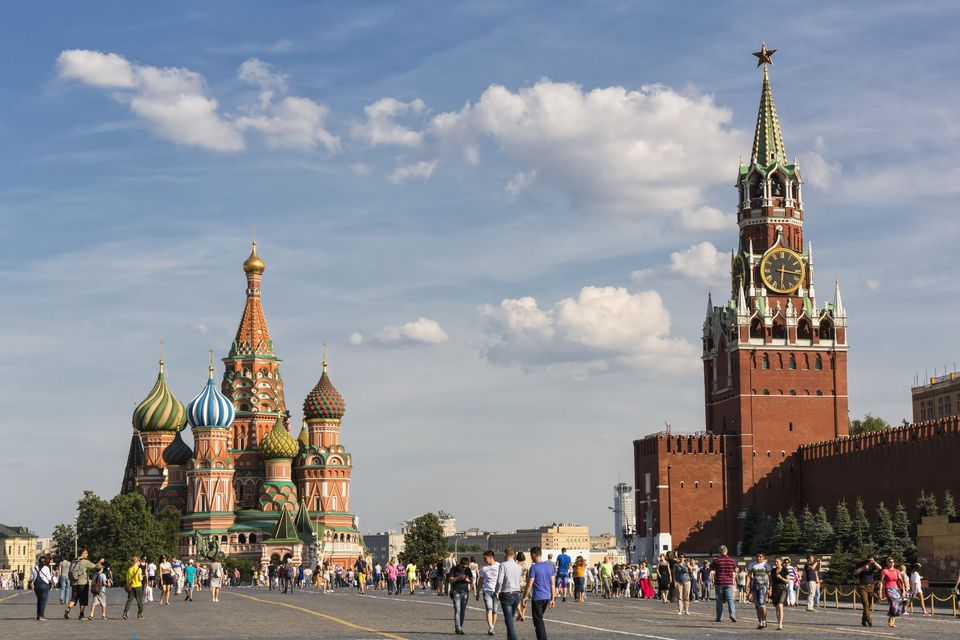 Russia, Moscow, Saint Basil's Cathedral with Kremlin Wall and Spasskaya Tower