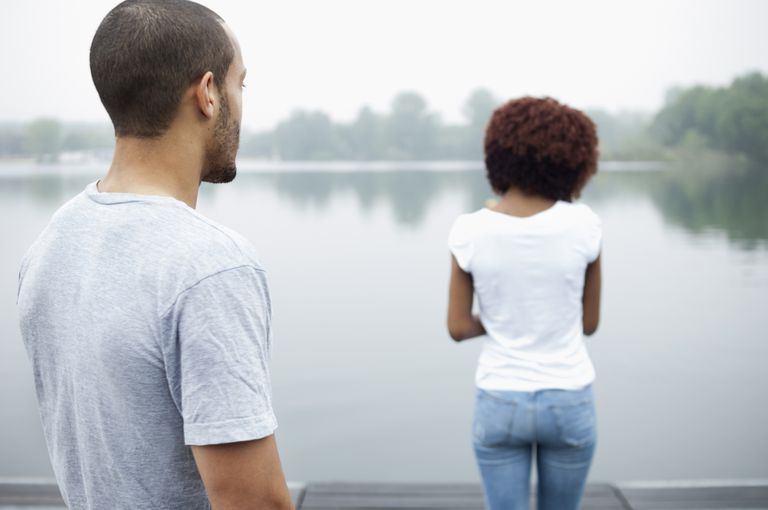 Portrait of young couple by lake, rear view