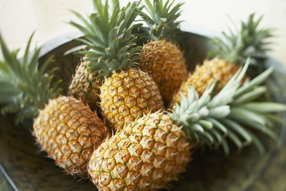 Hawaii, Platter Of Large Ripe Pineapples.