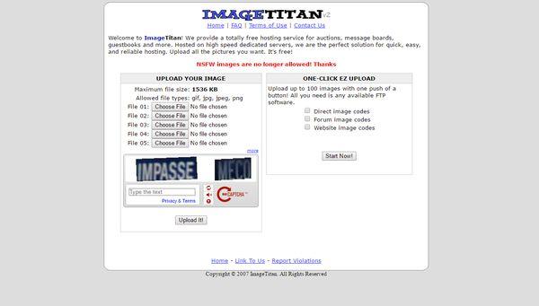 The homepage of ImageTitan