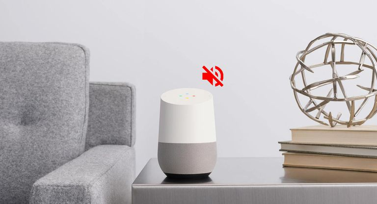Photo of a Google Home device with a red mute icon indicating an issue with the sound