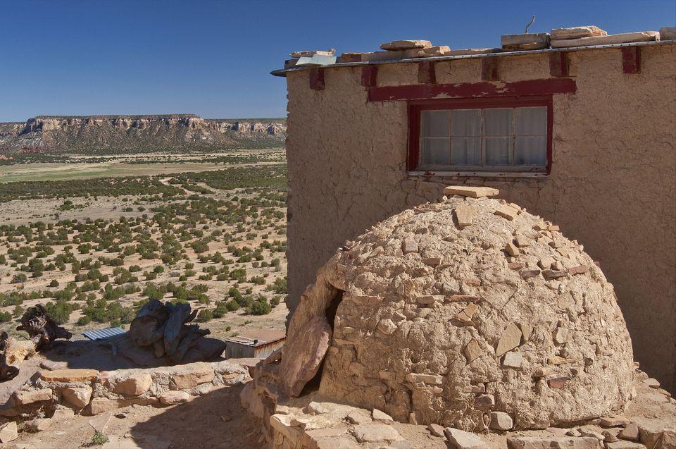 Horno, adobe-built outdoor oven in Acoma Pueblo