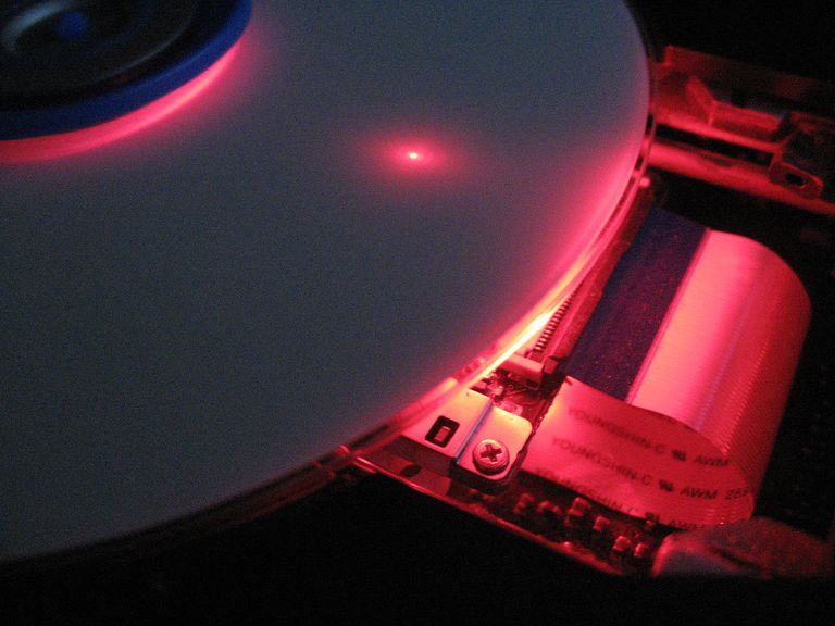 A cutaway of a DVD burner