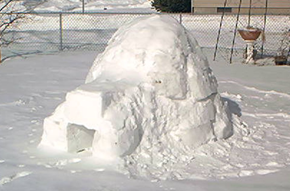 Image: an Inuit-style igloo build on a homeowner's lawn.