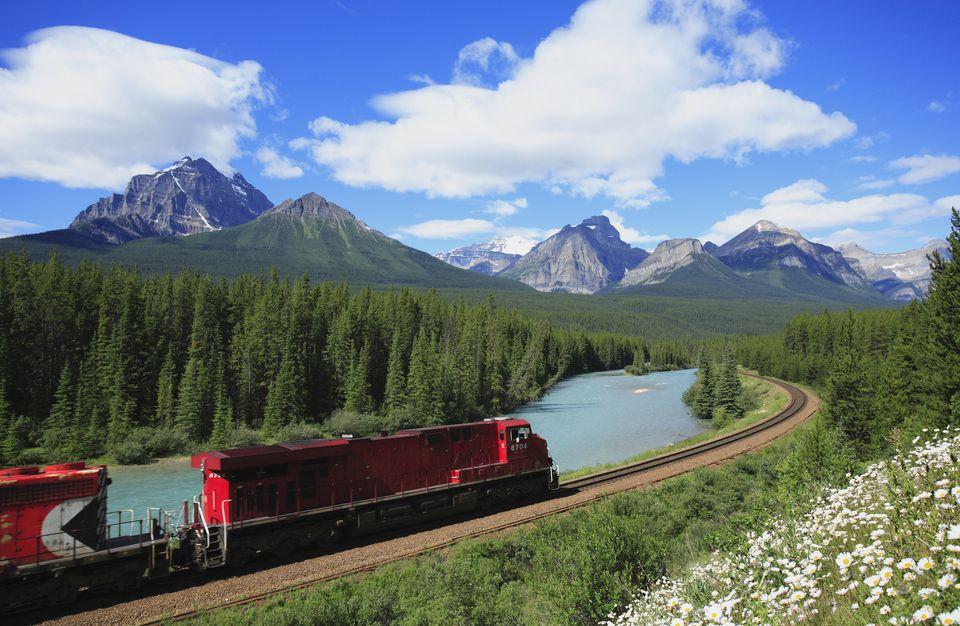 Train travelling through Canadian Rockies