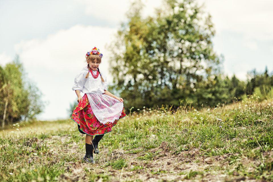 Polish girl in traditional folk costume.