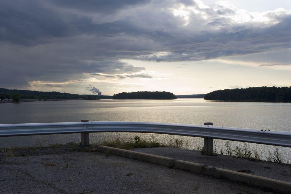 Akansas, Dardanelle, Sunset over lake, Power plant in background