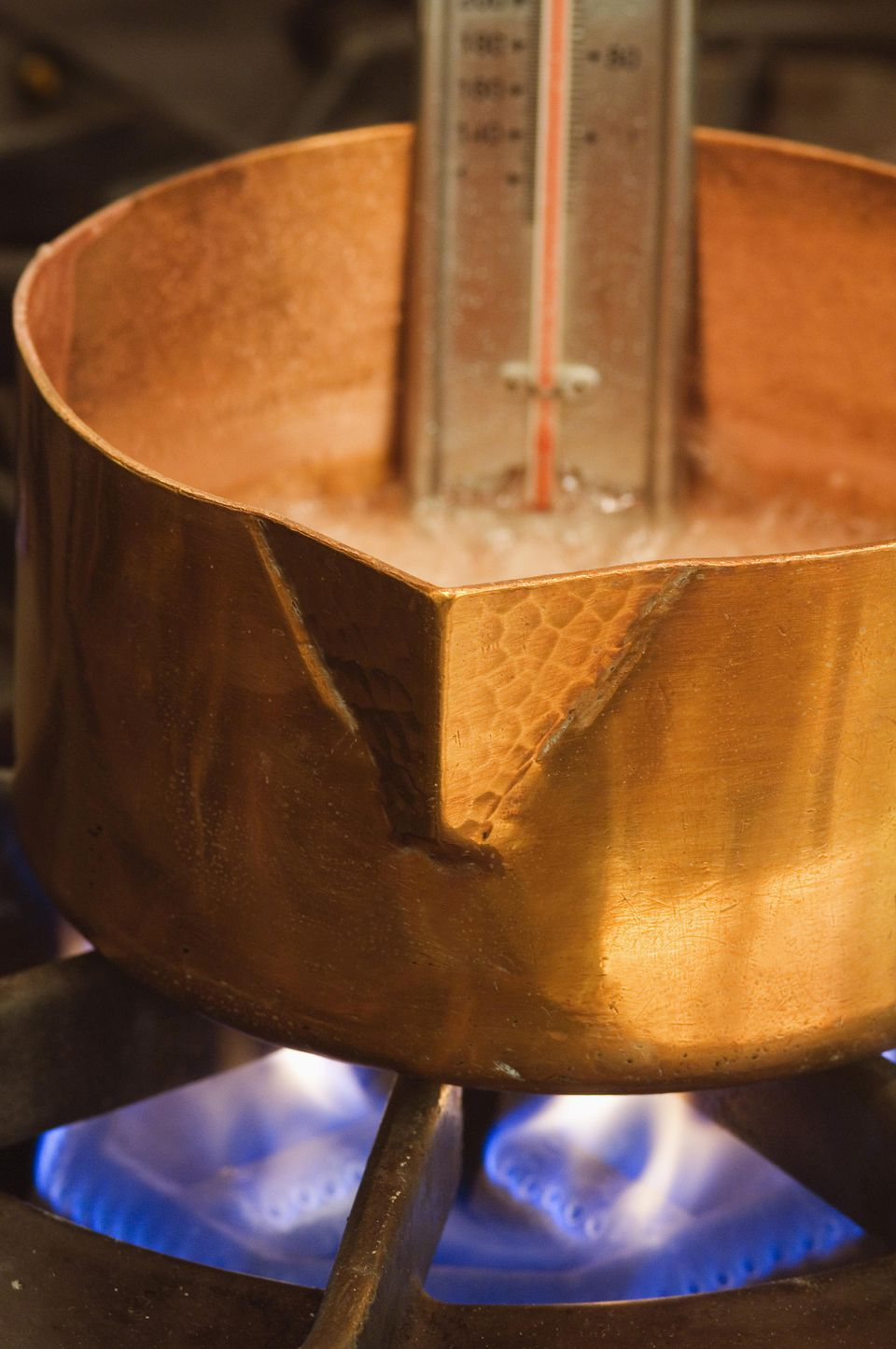 Copper pot and candy thermometer