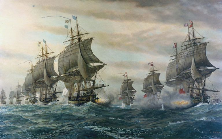The British and French fleets fight during the Battle of the Chesapeake