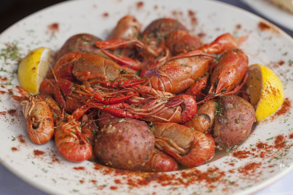 Plate of Cajun-style crawfish and red potatoes at restaurant in the French Quarter.