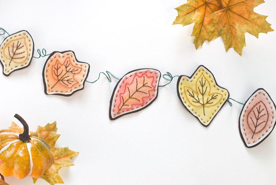 Embroidered Autumn Leaf Garland