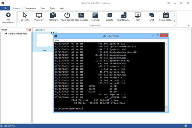 Screenshot of a Command Prompt in Remote Utilities