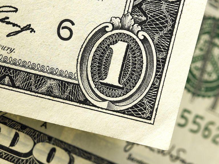 One dollar bill detail
