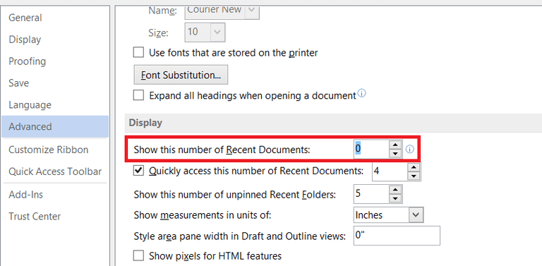 Microsoft 2016 Recently Used Documents