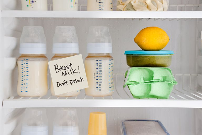 """Bottles of breast milk in the refrigerator with sign """"Don't Drink"""""""