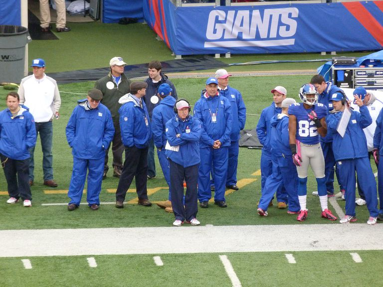 Tom Coughlin watches from the sideline
