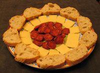 Spanish Tapa - Chorizo, Cheese & Bread