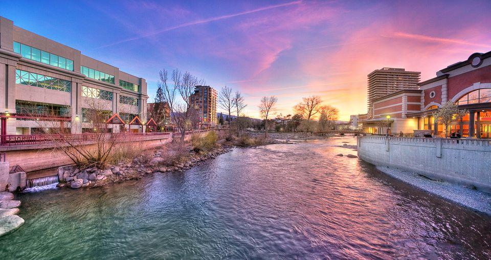Downtown Reno Riverwalk Sunset