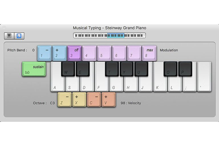 Musical Typing part of GarageBand