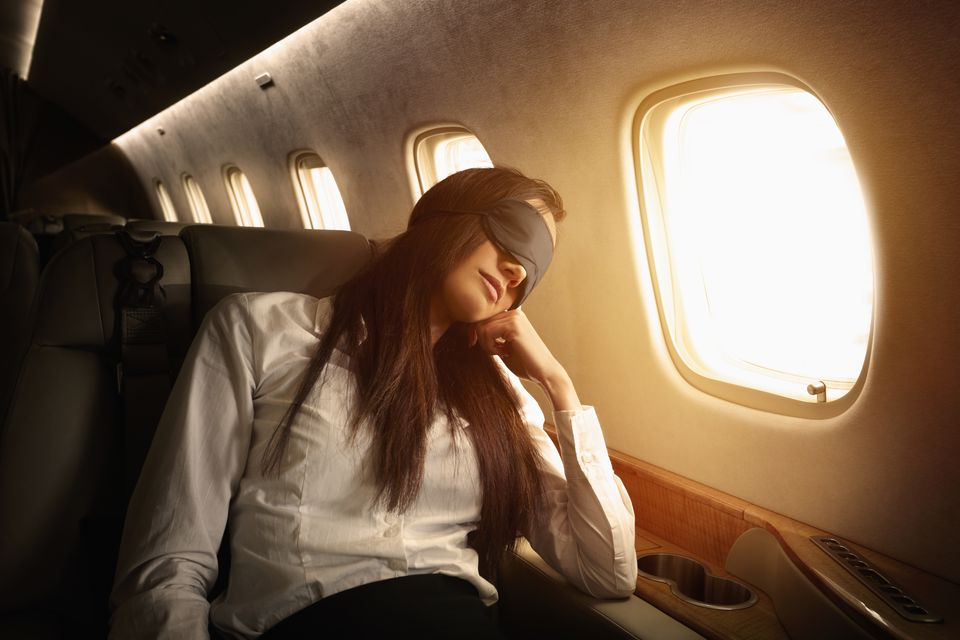 Woman prevents jet lag on flight